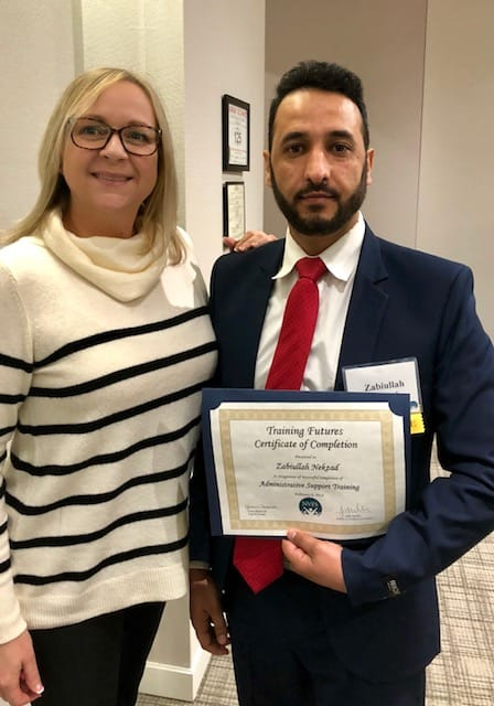 HomeAid's Event Manager Cilda Pretorius and Zabiullah Nekzad, Training Futures graduate and HomeAid Northern Virginia intern.