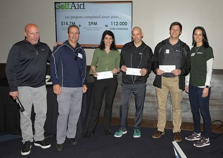TopGolf Contest Winners (left to right): Brian Davidson, GolfAid Host; John Buhl, GolfAid Host; Stephanie Marcus, SCG Development; Andy Tuttle, Offix; Porter Johnson; James Hardie; and Kristyn Burr.