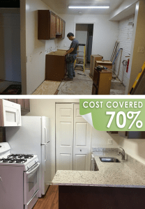 Toll Brothers renovated 13 apartment units owned by Catholic Charities. The renovations included updated and upgraded kitchens and bathrooms, drywall repair, and new flooring. The top photo shows construction in progress; the photoabove shows a finished kitchen. Toll Brothers covered approximately 70% of the costs.
